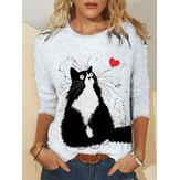 Frauen niedlich Katze Druck O-Ausschnitt Plus Größe Casual Blusen