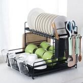 2 Tier Multifunctional Kitchen Drying Dish Rack over Sink Drainer Shelf