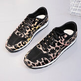 Women Splicing Mesh Comfy Breathable Casual Leopard Sneakers