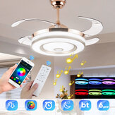 """36W 110-220V 42""""6 Speeds Smart bluetooth Music Dimmable Ceiling Fan Light LED Retractable Leaves Intelligent APP/Remote Control"""