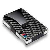 Slim Carbon Fiber Credit Card Holder RFID Blocking Metal Wallet Men Money Clip Case
