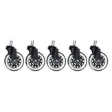 5Pcs Office Chair Caster Wheels 3 Inch Replacement Swivel Rubber Caster Wheels Soft Safe Rollers Furniture Hardware Accessories
