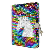 A5 Kid Girls Magic Reversible Sequin Notebook Diary Lined Notepad Verwisselbaar patroon met slot voor schoolbenodigdheden