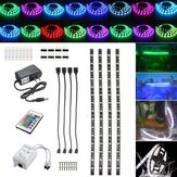 DC12V 4PCS 50CM Waterproof LED Strip Light RGB Outdoor Lamp + 24Keys Remote Control + Power Adapter