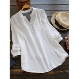 Women Solid Color Long Sleeve Button Pocket V-Neck Cotton Shirts