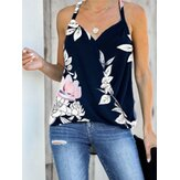 Vintage Floral Print Halter V-neck Sleeveless Wrap Tank Top