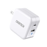 [GaN Tech] CHOETECH 65W 2-Port USB-C USB Charger PD3.0 QC3.0 Type-C Travel Wall Charger Power Delivery Adapter With Foldable Plug For Smart Phone Tablet Laptop For iPhone 11 SE 2020 For iPad Pro 2020 MacBook Pro 2020 For Nintendo Switch Xiao Note 9s