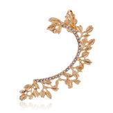 Metal Yaprak Kristal Yapay elmas Kulak Kelepçe Stud Kulakring için Kadın
