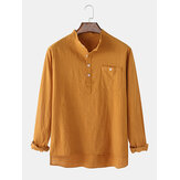 Mens Flax Chest Pocket Long Sleeve  Solid Color High-LowHem Henley Shirts