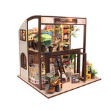 Handcraft DIY Doll House Time Cafe House Wooden Miniature Furniture LED Light Gift