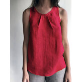 Women Pure Color Cotton Sleeveless Tank Tops