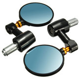 22mm/0.87in Motorcycle Handlebar End Rear View Side Rear View Mirror CNC Aluminum Pair Black