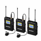 MAMEN WMIC-01 UHF dwukanałowy bezprzewodowy system mikrofonowy 2 nadajniki 1 odbiornik 50 kanałów mikrofon do aparatu w telefonie