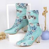 Женщины удобные стильные вышитые цветы ткань эластичные слипоны на толстом каблуке короткие Ботинки