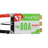 Racerstar RS80A V2 80A BLheli_S BB2 2-6S DShot600 Ready Brush ESC مدمج LED RGB for RC Drone FPV Racing
