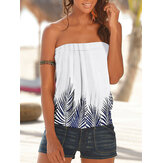 Women Summer Leaf Print Strapless Sleeveless Tube Tank Top