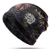 Women Warm Plus Velvet Thicken Beanie Hut Kragen Kaschmir Fashion Painting Hut