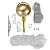 Flag Pole Parts Repair Tool Kits 2inch Diameter Truck Pulley Gold Ball Cleat Halyard Rope