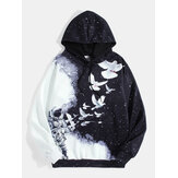 Mens 3D Pigeon & Starry Sky Print Design Drawstring Hoodies With Kangaroo Pocket