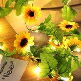 20LED Simülasyon Ayçiçekleri Dize Işıklar Asılı Vines Bitki Garland İpek Yapay Ayçiçeği Vines Batarya Powered For Home Bahçe Düğün Parti Dekoru