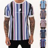 メンズTシャツ夏ストリートストライプメンズTシャツカジュアルマンウェアヒップホップ男性Tシャツトップスファッション衣類メンズ