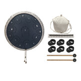 Steel Tongue Drum 14 Pollici 15 Tone Drum Handheld Tank Drum Strumento a percussione Yoga Meditation Beginner Music Lovers Gift