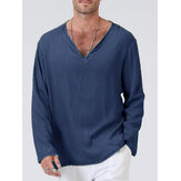 Banggood Design Mens 100% Cotton Solid Color V-Neck Casual Long Sleeve T-Shirts