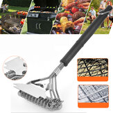 2 In 1 BBQ Grill Brush Stainless Steel Wire Barbecue Cleaning Tool Camping Picnic Tableware