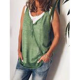 Sleeveless V Neck Button Solid Casual T-shirts