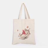 女性は猫柄のショルダーバッグを印刷カジュアルショッピングバッグ
