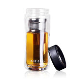 Stor Kapacitet Glas Vandflaske Dobbelt Walled Travel Mug Portable Convenient Cup med Tea Infuser