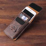 Múltiples tamaños Hombres PU Cuero Sólido 6.3 pulgadas Teléfono Bolsa Monedero Casual Cintura Bolsa Fácil de llevar