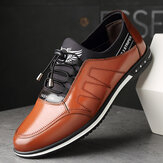 Men Microfiber Leather Comfy Non Slip Elastic Lace Business Casual Shoes
