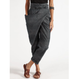 Casual Zipper Stripe Side Pocket Belted Irregular Harem Pants Untuk Wanita