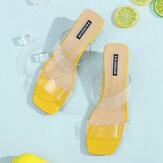 Women Transparent Bind Solid Color Chunky Heels Slippers