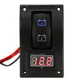 12V Marine Boat Dual LED Batterie Test Panel Rocker Switch LED Voltmètre De Tension