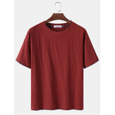 Solid Color Flax Breathable Round Neck Short Sleeve T-Shirts