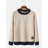 Mens Contrast Color Drop Shoulder Long Sleeve Warm Knitted Sweaters