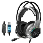 Heir Audio X10 Gaming Headset 7.1 Channel USB / Dual 3.5mm Wired LED Gaming Headset Bass Stereo Sound Headphone Earphones with Mic for PS4 Computer PC Gamer