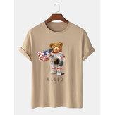 Heren cartoon astronaut beer print katoenen casual T-shirt met korte mouwen