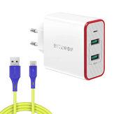 BlitzWolf® BW-PL3 36W QC3.0 Chargeur mural USB double ports Adaptateur de prise UE avec BlitzWolf® BW-TC14 3A Câble USB Type-C 1 m / 3,3 pieds pour iPhone 12 12Pro