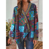 Women Retro Floral Print Patchwork Long Sleeve Irregular Cotton Ethnic Style Vintage Cardigans