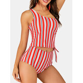 Women One Shoulder Vertical Stripes Print Cover Belly Tankini