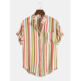 Mens Vertical Stripe Button Up Stand Collar Respirável Short Sleve Shirts
