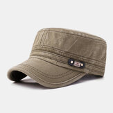 Men Cotton Solid Color Make-old Outdoor Casual Sunshade Military Cap Flat Hat