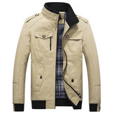 Mens Spring Autumn Stand Collar Multi Pocket Outdoor Jacket