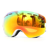 Lunettes de ski de snowboard anti brouillard anti-UV protection double lentille moto sport lunettes blanc cadre