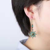 Ethnic Bronze Sun Ear Drop Earrings