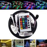 5M SMD2835 Nicht wasserdicht 300 LED RGB flexible Streifen Licht + Mini 24 Tasten IR Fernsteuerpult DC12V