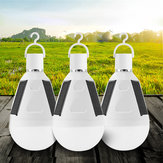 3pcs 7W Solar Powered E27 LED Rechargeable Light Bulb Tent Camping Emergency Lamp with Hook